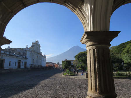Street scene in Antigua, Guatemala. Antigua was the former capitol of the country before Guatemala City