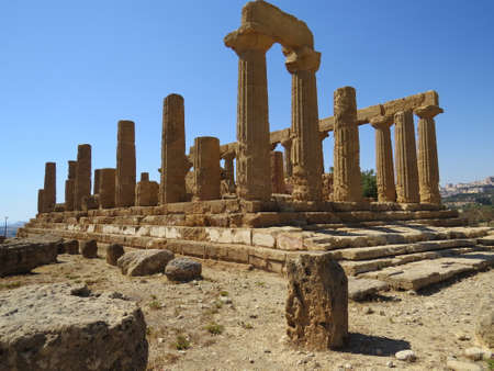 agrigento: Ruined temple in the Valley of the Temples located in Agrigento in Sicily, Italy