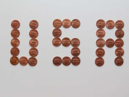 USA written using one cent coins 版權商用圖片