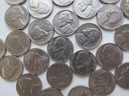 nickel: american five cent (nickel) coins Stock Photo