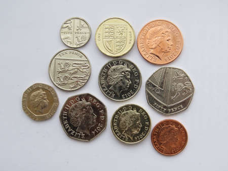 pence: Selection of coins from the UK. Stock Photo