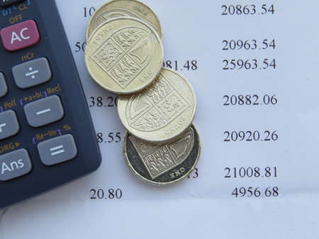bank statement: Checking the monthly bank statement. Stock Photo