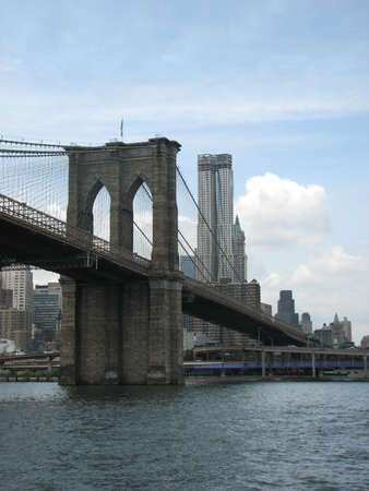 Brooklyn Bridge, probably the most well known of all the bridges that connect the island of Manhattan to the rest of New York.