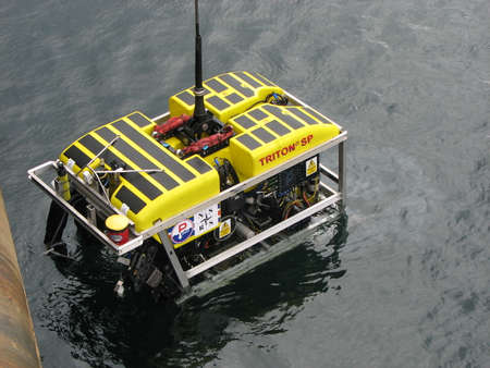 Remotely operated vehicle (ROV) used to clear debris from around a stricken sub and to post life pods (containing survival stores) into the distressed sub (DISSUB)