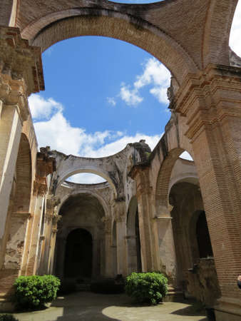antigua: Ruins of Santiago cathedral (damaged by an earthquake in 1773) in Antigua, Guatemala. Stock Photo