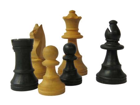chessmen: Chessmen on a white background. Stock Photo