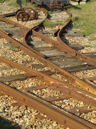railway points: Section of a narrow gauge railway Line Stock Photo