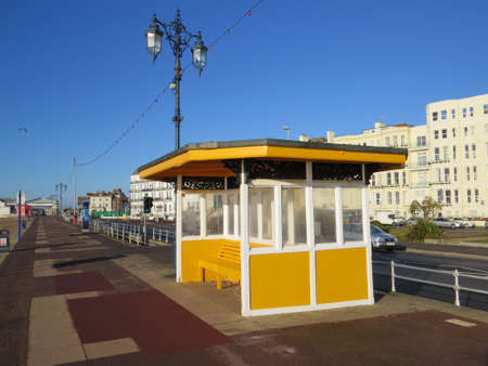 promenade: Shelter on the promenade of Southsea seafront. Editorial