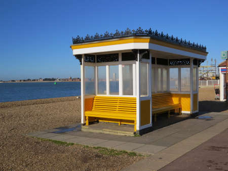 southsea: Shelter on the promenade of Southsea seafront. Stock Photo