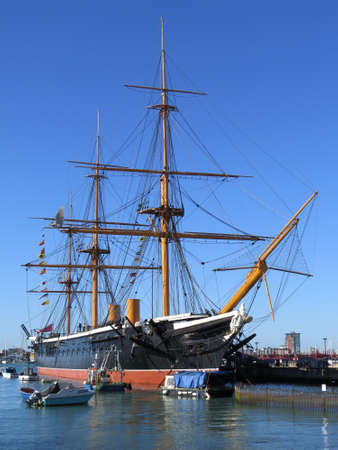 warship: HMS Warrior is the worlds first steam powered iron clad warship. Dating from around 1860, it was a formidable opponent.