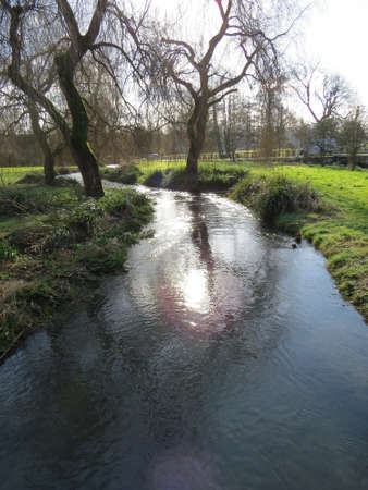 meon: View of the river Meon which runs through the English village, Meonstoke in Hampshire, UK. Stock Photo