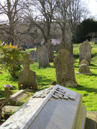 churchyard: Churchyard in the Hampshire village of East Meon, UK.