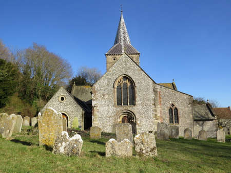 Church in the Hampshire village of East Meon, UK.