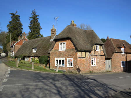 meon: Thatched Cottage in the village of West Meon in Hampshire, UK.