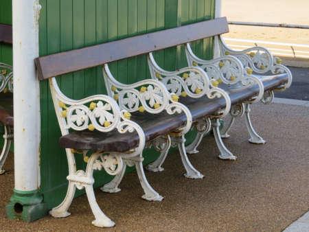 promenade: Ornate bench on the promenade at Blackpool.