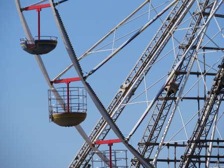 ferrous: Ferrous wheel on one of the piers on the promenade in Blackpool.