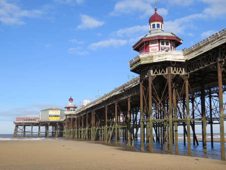 seafronts: One of the piers (boardwalk) on Blackpools Golden Mile promenade.