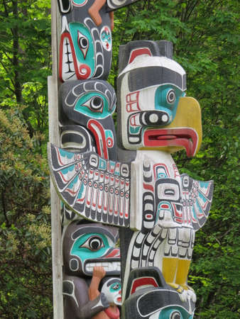 stanley: Totem Poles in Stanley Park in Vancouver, Canada. These are copies, the originals are in a Canadian museum.