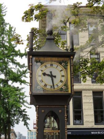 suggests: The Steam Clock is, as its name suggests, powered by steam. It is located in Gastown, a suberb of Vancouver, Canada and is a big tourist attracton.
