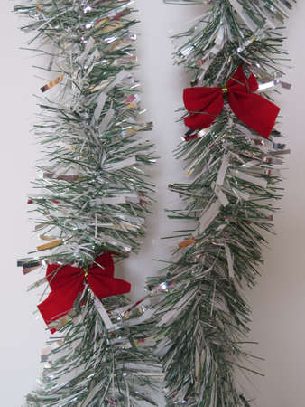 the tinsel: Silver strands of tinsel. Stock Photo