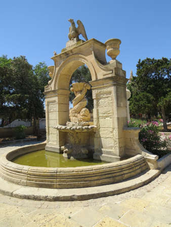 water feature: Water feature in a park in Valletta, Malta. Stock Photo