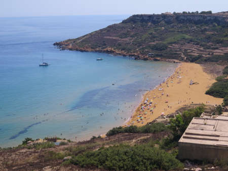 rambla: Rambla Bay is one of the best beaches on the  Maltese island of Gozo. Stock Photo