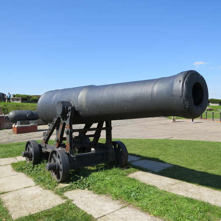 southsea: Old cannon on display on Southsea seafront. Stock Photo