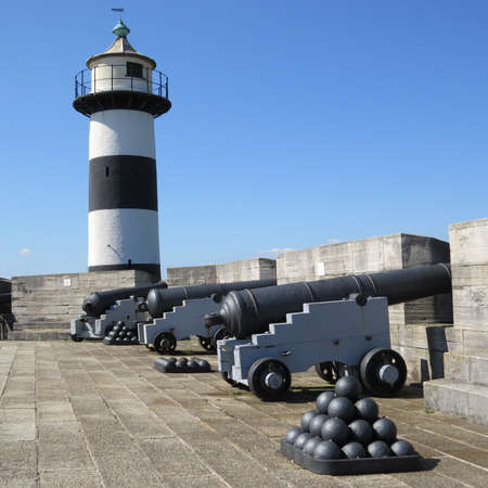 southsea: Old cannons on display on Southsea seafront.