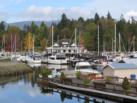 stanley: View across Vancouver harbor towards Stanley Park.