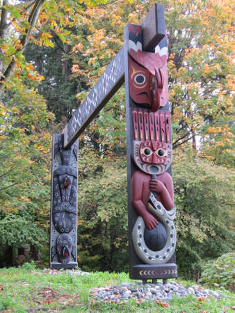 stanley: Totem pole in Stanley Park in Vancouver, Canada. Stock Photo