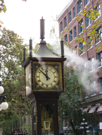 implies: The steam clock, as its name implies runs on steam. It is located in Gastown in Vancouver, Canada and is a big tourist attraction.