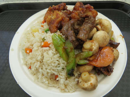 chinese meal: Chinese meal consisting of orange chicken, beef  with mushrooms and boiled rice. Stock Photo