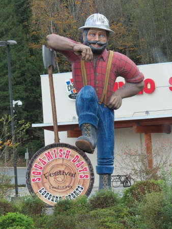 days gone by: Squamish, Canada - October 24th, 2015: Although the towns glory days in the logging industry are long gone, lumberjack competitions are still held log chopping, rolling, climbing etc in Squamish keeping alive the old traditions. Editorial
