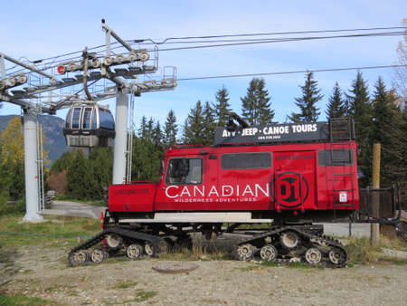 off piste: Whistler, Canada - October 24th, 2015: Tracked vehicle used in Whistler during the Winter to transport skiers to areas that the lifts dont go to. Popular with people who wish to ski off piste.