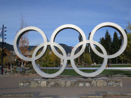 Olympic rings displayed in Olympic Plaza in Whistler, Canada.