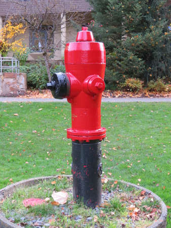 Fire hydrant for use by the Canadian fire brigade as a source of water for fighting fires. Stok Fotoğraf