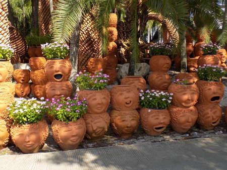 flower pots: Ornamental terracotta flower pots Stock Photo