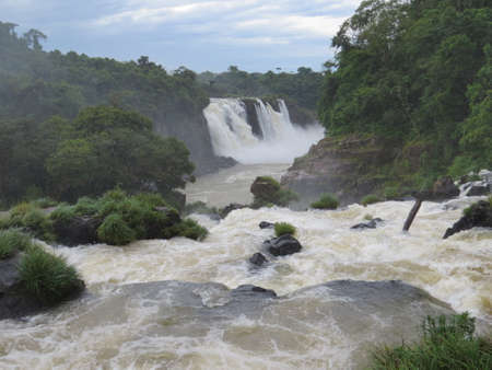 classed: Part of the Iguazu Falls situated on the Argentinia  Brazil border. The falls consist of around 275 seperate waterfalls spread over a couple of miles and is classed as one of the severn natural wonders of the world.