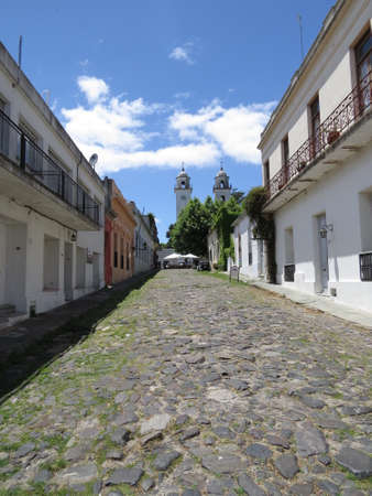 One of the old cobblestone streets in the Uruguayan town of Colonia de Sacramento. Imagens - 49648186