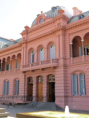 addressed: The pink house casa rosada where Eva Peron addressed the people, a famous episode in Argentinas history.