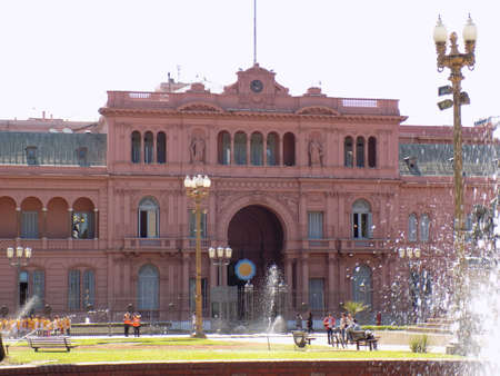 The pink house casa rosada where Eva Peron addressed the people, a famous episode in Argentinas history.