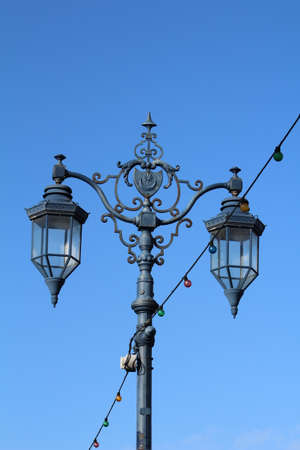 Old cast iron ornamental lamppost. These are situated along the length of Southsea seafront. Stock Photo
