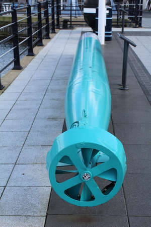 portsmouth: Torpedo on display at Gunwharf Quays in Portsmouth.