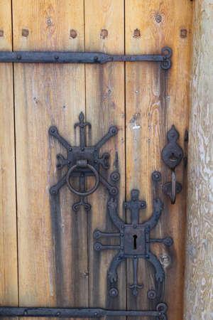 ornate door: Ornate door furniture on an Icelandic church door.