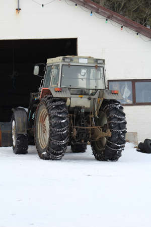 harsh: Tractor fitted with snow chains for the harsh Icelandic winter.