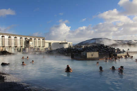 blue lagoon: The Blue Lagoon is an outdoor bathing area heated by geothermal energy. There are many of these public pools in Iceland and are extremely popular. Editorial