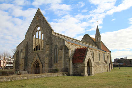 garrison: Garrison Church at Old Portsmouth. The roof was lost to German bombs in 1941 and was never replaced. Stock Photo