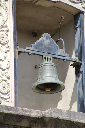independance: The bell of the Alamo mission in San Antonio, Texas. This is the place that Travis, Crockett, Bowie and their men made a final stand against the army of Mexico during their fight for independance. Stock Photo