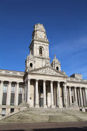 guildhall: View of the front facade of the guildhall in Portsmouth, UK.
