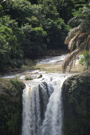 geological feature: Waterfall close to the village of Chamarel on the island of Mauritius. Stock Photo